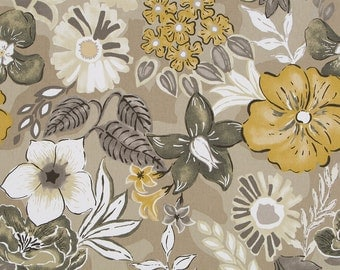 Artistic Taupe Floral Upholstery Fabric - Custom Gold Floral Curtains and Roman Shades - Modern Taupe Floral Custom Pillows with Piping