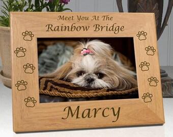 Personalized Dog Sympathy Frame -  Meet You At The Rainbow Bridge