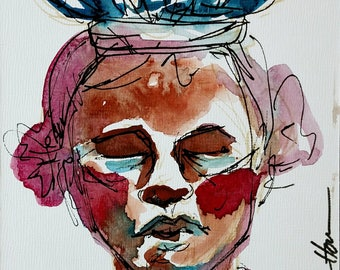 Haiti Woman- 5x7in Original Watercolor & Ink Portrait, Art board