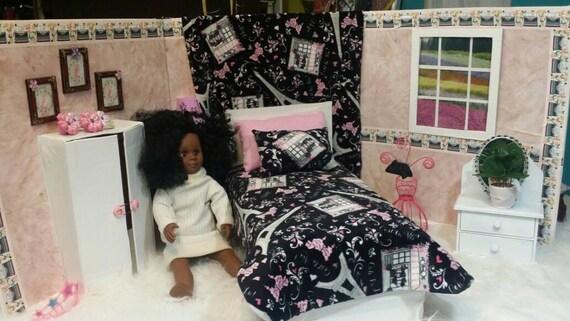 "5 Piece doll bedding ensemble for  18"" dolls like American girl/ Our Generation/Ooh La Laa Paris fabric"