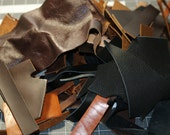 5.1 pounds of Genuine Leather Scraps - Leather Remnants - brown black tan natural leather - will ship priority