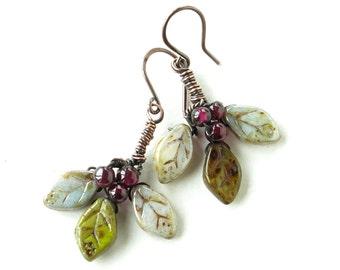 Leaf dangle earrings - Purple garnet berries & Czech glass leaves with copper wire