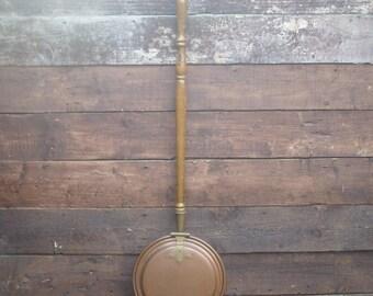 Vintage copper long handle bed warmer