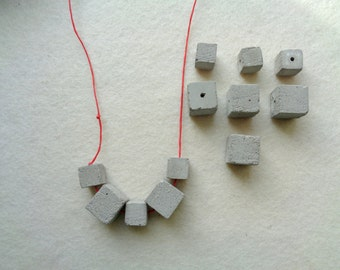 Concrete Cube Beads, Set of 12 Hand casting beads, Do it Yourself Goncrete Necklace, Geometric Jewelry