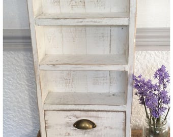 Rustic Reclaimed Wood Shelf with Drawer Country Shabby Chic