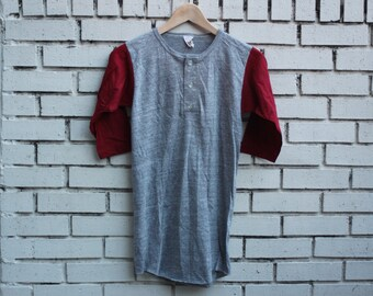 Vintage RUSSELL ATHLETIC Blank Shirt Youth L Large Tri-Blend 1980's Baseball Tee Rayon Retro Thin Soft Vtg Grey Maroon Burgundy Red  Outdoor