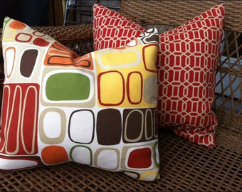 Mod Outdoor Fabric Pillow Cover 18 x 18 throw pillow geometric design pair
