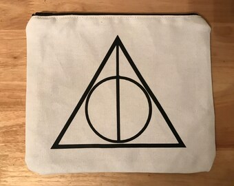 Deathly Hallows Makeup Bag - Cosmetic Bag - Zipper Pouch