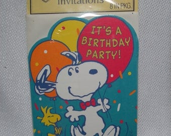 Vintage Hallmark Birthday Party Invitations, Vintage Snoopy Cards