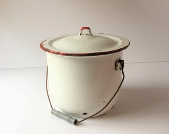 Vintage Slop Bucket Red and White Enamel, Enamelware Slop Jar Chamber Pot With Lid Porcelain Enamel Slop Jug Depression Era Farmhouse Decor