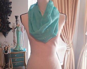 Sheer minty green Infinity scarf