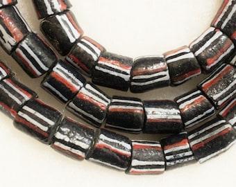 Black African Chevron Beads, 10 Tribal Beads, Ethnic Beads (b90)