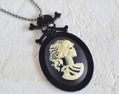 Lolita Skeleton Necklace, Skeleton Necklace, Zombie Necklace, Lolita Necklace, Skull Necklace, Gothic Cameo Necklace, Cameo Necklace, Lolita