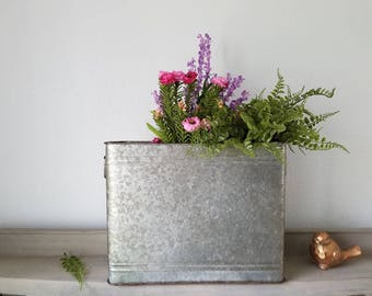 Galvanized Metal Planter Farmhouse