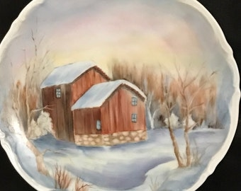 Beautiful Plate China Painted Snow Cabin Picture SALE