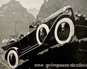 Vintage 1923 SPORT CAR advertisement. 1920s Advertisement print. Art Deco. Advertisement plate. De Dion Bouton Automobile. 94 years old