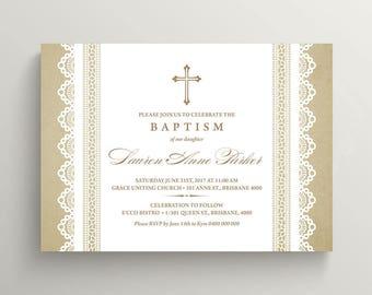 Baptism Invitation \ Christening Invite \ Girl Baptism \ Boy Baptism \ Lace Invite (CR38)