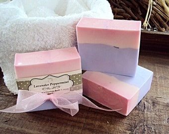 Lavender Peppermint Soap, Vegan Soap, Handmade Soap, Pink & Purple Soap, Shea Butter, Lavender, Peppermint, Bar soap, Body Soap