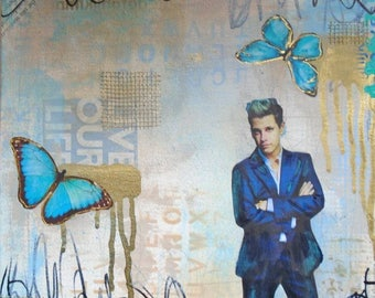 Beautiful Trouble- Milo Yiannopoulos original fine art collage canvas painting mixed media