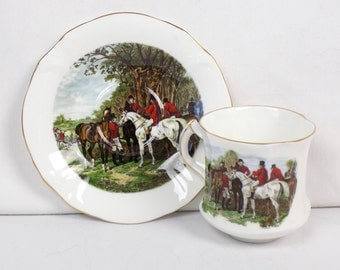Hammersley Danbury Mint Collectible JF Herring Demitasse Porcelain Cup and Saucer Set - Fox Hunting Equestrian Horseback England Fine China