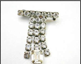 Vintage Bar  Brooch - dangle articulate  rhinestone - Mid Century pin