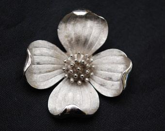 Crown Trifari Dogwood Flower brooch -silver tone metal - Mid Century pin
