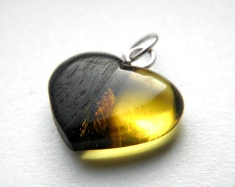 SALE 25% OFF!!! Use the coupon code: SALE25 Black oak baltic amber heart pendant