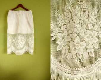 White Skirt with Vintage European Lace and Fringes, White Lace Midi Skirt, Boho Chic Hippie Skirt, Upcycled White Spandex Skork XL 16