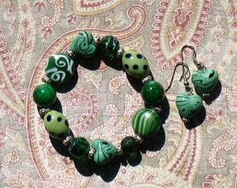 Green Ceramic Bracelet Set