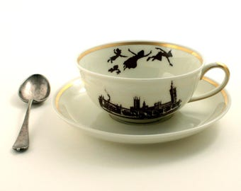 Altered  Peter Pan Vintage Cup Porcelain Dreams James Barrie Tea Coffee Cocoa Up Cycled Big Ben London England Sugar White Brown Romantic