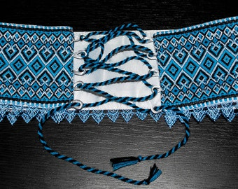 Ukrainian embroidered belt. Vyshyvanka Women's Belt-Corset. Folk Belt is woven. Blue Belt the dress . Waistband. Ukrainian national clothes