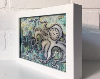 "Cloctopus- 5""x7"" Framed Art Print by Jamie Rice-Desk art,  Wall decor. Framed or Unframed"