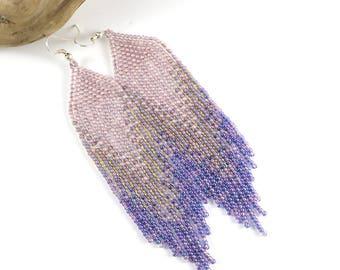 Beaded long earrings Dangle earrings Southwestern earrings Fringe beaded earrings Boho earrings Pastel tone Lavender earrings Purple
