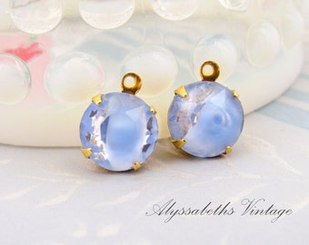 Vintage 11mm Light Blue & Clear Glass Faceted Stones in Brass Settings Drop or Connector - 4