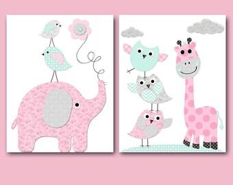 Pink Gray Mint Elephant Giraffe Wall Decor Owl Wall Decor Canvas Print Baby Girl Nursery Art Print Children Art Baby Room Decor set of 2