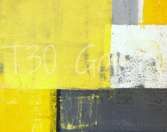 Digital Download - Mounted, Grey and Yellow Abstract Artwork