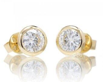 14 Karat Yellow Gold Bezel Set Moissanite Earring Studs