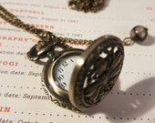 Steampunk Pocket Watch - Steampunk Pocket Watch Necklace - Dragons Eyes