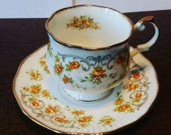 Queen's Rosina Teacup and Saucer Yellow Flowers