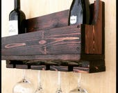 Wine Rack, Wall Hanging, Reclaimed Wood, Wedding Gift, Engagement Gift, Housewarming, Shelf, Wine Glass Holder, Wine Bottle, Personalized