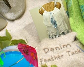 Denim Feather Tank Top Sizes XS to XL, 1X Blue Ribbons White Cotton Dreadlock Tassel Fringe Dreamcatcher