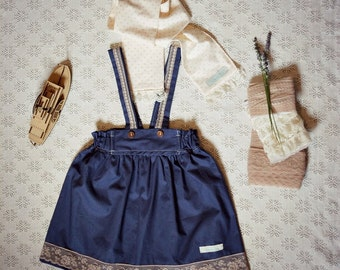 Girls Set - Steamer Skirt with Straps in Dark With Brown Vintage Lace & Cotton Polka Dot Scarf Set