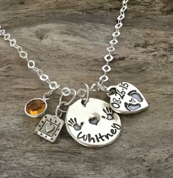 New Mommy Gift /Hand Stamped Necklace/Mom to be/Gift for Mommy/Personalized Sterling Silver/Birthstone Necklace/New Mommy Necklace