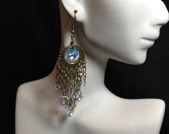 Antique Chandelier with Swarovski Crystals, Long Chandelier Earrings, Chain Earrings, Hippy Earrings, Sparkle Dangle Earrings