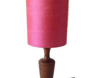 vintage teak 60's  lamp base and hand made shade from pink silk dupion