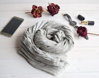 Gray linen scarf, scarf with knot fringes, linen scarves, scarf linen, linen shawl, pure linen scarf, women scarf, men scarf, wrap scarf