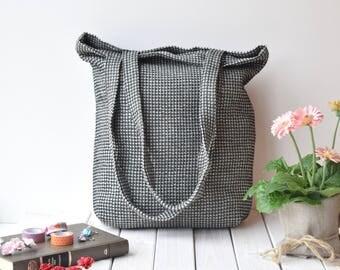 Tote bag, custom market bags, reusable bag, Linen waffle tote bag, canvas tote bag, bags, shoulder bag, black tote bag