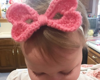 Two Hearts Crochet Bow Headband