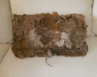 Leather Leaf Pillow