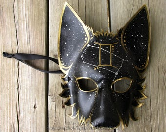 Full Gemini Mystic Wolf Mask with Western Zodiac Symbol and corresponding Constellation, All symbols available! Animal mask, LARP, Halloween